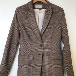 H&M plaid fitted blazer
